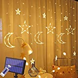 LED ソーラー イルミネーションライト 星月ストリングライト カーテンライ ト 138電球 3.5m 8種類モード リモコン付 タイマー機能 防水 自動点灯 消灯 屋内屋外飾り クリスマス/結婚式/誕生日/パーティー/学園祭/庭/玄関/広場/街路樹装飾の飾りに適しています 透明蛍光灯 ウォームホワイトの光
