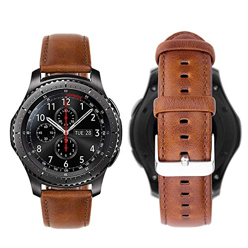iBazal Gear S3 Frontier Classic Armband Leder Uhrenarmband Armbänder 22mm Lederband Ersatz für Samsung Galaxy Watch 46mm SM-R805/800,Huawei GT/Honor Magic/2 Classic,Ticwatch Pro Herren Uhr Band -Braun