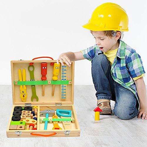chinejaper Holz Werkzeugkoffer Werkzeugkasten und Zubehör Set Werkzeug Spielzeug Spielwerkzeugen Rollenspiele Geschenk für Kinder Jungen Mädchen