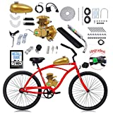 YUEWO 80cc 2-Stroke Upgrade Electric Bike Conversion Kit, DIY Petrol Gas Engine Bicycle Motor Kit Set for 24',26' and 28' Bikes