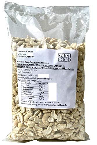 1 kg Cashewkerne in Bruch GMO frei Cashewbruch Cashew roh Nüsse Cashews Cashewnüsse gesund Proteinreich vegan Soleilfood Cashew