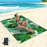 Sand Proof Beach Blanket 55' X 78' Waterproof Sand Free Beach Mat with Corner Pockets,Portable Mesh Bag for Beach Festival, Leaf