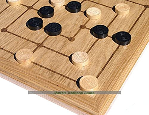 Masters Traditional Games Oak Nine Mens Morris Board with Wooden Pieces