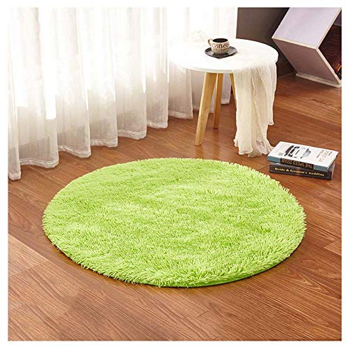 GUOCU Teppich Rund Hochflor Shaggy Langflor Teppich Flauschiger Teppiche Bettvorleger Wohnzimmer Teppich,Grün2,Durchmesser 160cm