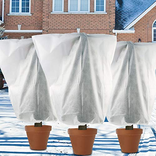winemana 3 Pack W75 x H87 inch Plant Covers Winter Drawstring Plant Freeze Protection Cover Bags Antifreeze Cover, Reusable Frost Cloth Blanket for Winter Cold Weather