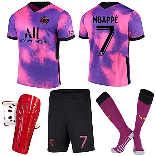 ACJIA Kit de Distancia # 7 PSP Away 2021 22 4th Jersey Unisex Pink/Purple Fútbol de fútbol Camiseta para Fan Regalo Capacitación para Hombre Jersey Souvenir con Calcetines + Pie Guards,XL