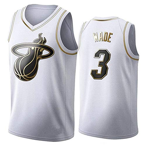 NBA - Camiseta Baloncesto para Hombre Miami Heat 3# Wade, Camiseta Sin Mangas Fitness Retro, Camiseta Deportiva, Chaleco Sin Mangas, Camiseta Transpirable, Ropa Hip Hop Bordada,White gold,XL
