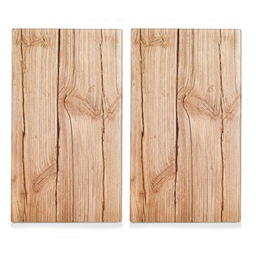 Zeller 26277 Herdabdeck-Schneideplatten Wood, 2-er Set, Glas