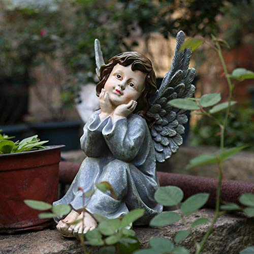 GWZSX Angel Sculpture Guardian Angel Statues in God's Grace Resin Arts Crafts For Outside Garden Yard Home Decoration Ornament-17 * 20 * 28cm Gray