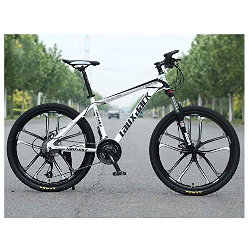 Z-LIANG Outdoor sports Outroad Mountain Bike 21 Speed Grass Sand Bicycle 26 Inch Road Bike for Men Or Women Commuter Bicycle with Dual Disc Brakes,White
