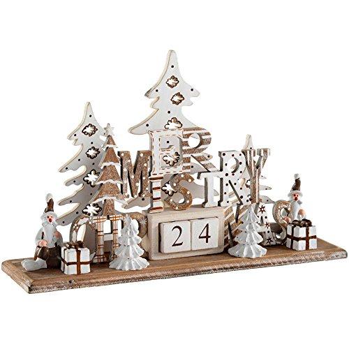 WeRChristmas Weihnachten Szene Adventskalender Dekoration, Holz, Mehrfarbig, 21cm