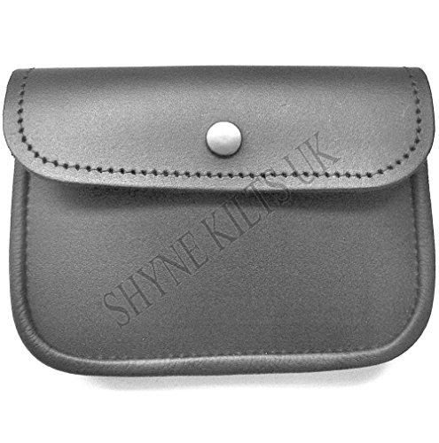 Grande pochette de ceinture en cuir 100 % noir pour kilt