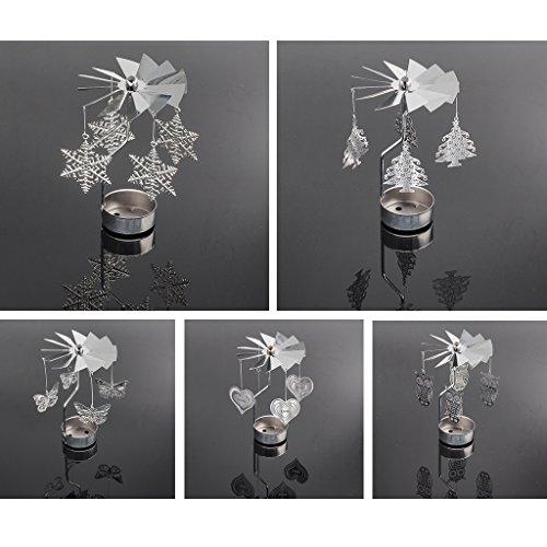 FKY Kandelaar roterende spinning theelicht kaars metaal theelichthouder carrousel wooncultuur cadeau