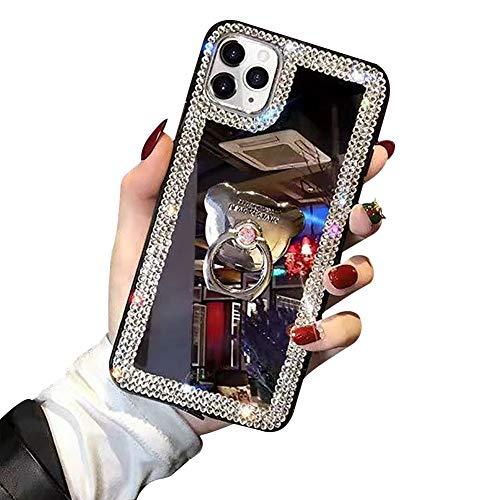 ShinyZone Custodia Specchio per iPhone SE 2020,Cover iPhone 7/iPhone 8 con Anello Ring Supporto,3D Bling Diamante Ragazze Cristallo Strass Morbida Silicone Case Cover,Orso Ring