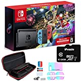 Nintendo Switch with Neon Blue and Neon Red Joy-Con - Mario Kart 8 Deluxe (Full Game Download) - 3 Month Nintendo Switch Online Individual Membership - iPuzzle 128GB SD Card + 11-in-1 Carrying Case
