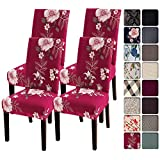 SearchI Dining Room Chair Covers Slipcovers Set of 4, Spandex Super Fit Stretch Removable Washable Kitchen Parsons Chair Covers Protector for Dining Room,Hotel,Ceremony,Red+Flowers