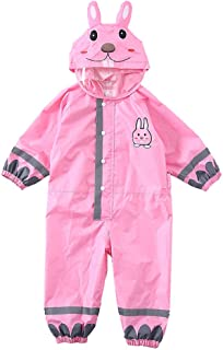 Kids Raincoat One Piece Rain Suit Reflective Rain Jacket Hooded Coverall Pink M