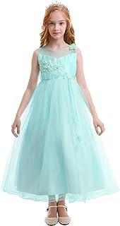 a92ef9a76 OBEEII Vestido Elegante de Niña Vestidos Floral Largos de Encaje Ropa  Verano Disfraz de Princesa para