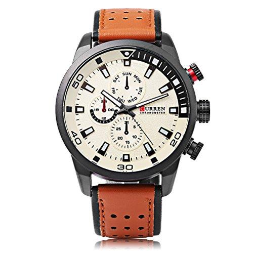 CURREN 8245 Reloj para Hombre Moda Casual Business Calendario Completo Relojes de Pulsera Superficie Creativa