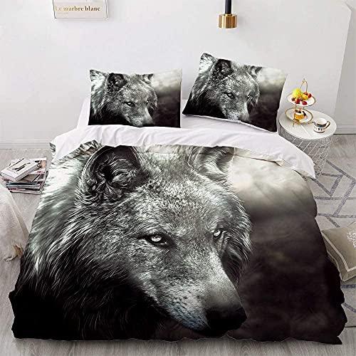 timeriver US Juego de ropa de cama Wolf con impresión 3D, funda nórdica de microfibra con cremallera y cómoda funda de almohada suave, hipoalergénica, de poliéster suave (200 × 200)