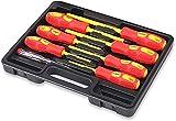BRIMIX 8 pc Juego de destornilladores de electricista VDE 1000V Aislados, pozidrive, phillips, plana y Buscapolos. Puntas magnéticas
