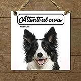BORDER COLLIE mod 2 Attenti al cane Targa piastrella cartello ceramic tiles