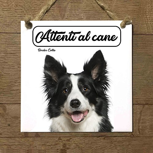 BORDER COLLIE mod 2 Attenti al cane Targa piastrella cartello ceramic tiles