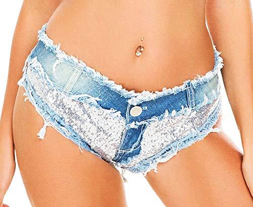 Vrouw - jeans - korte broek - denim - gerafeld - pailletten - gescheurd - zeer kort - lage taille - zee - vrouw - meisje - strand - blauw - cadeau-idee
