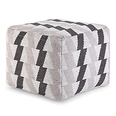 Simpli Home Heath Square Pouf, Footstool, Upholstered in Black, Grey, White Patterned Hand Woven Cotton, for the Living Room, Bedroom and Kids Room, Transitional, Modern