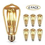 AODOOR Edison Vintage Ampoule Blanc Chaud Ampoule Vintage Antique Ampoule Edison LED Lampe E27 4W Rétro Filament Lampe Idéal pour Nostalgie et Rétro Éclairage dans la Maison Café Bar etc Lot de 6