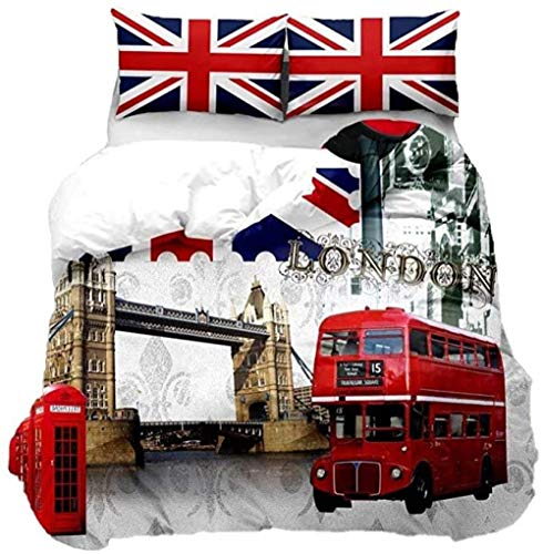 HUA JIE Funda Nordica Cama Funda Nórdica Paisaje Urbano Londres coraive London Bridge Red Double cker Bus Edredón Funda 3D Morn Famous City Funda Colcha