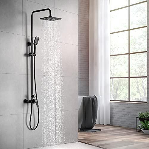 Auralum Negro Columna ducha con grifo, Set de ducha Monomando con 10'' Ducha de Lluvia y Ducha de Mano Altura Ajustable (90-120cm)