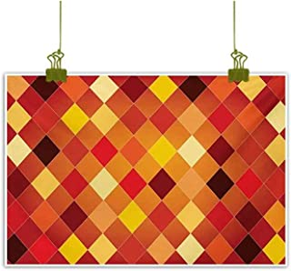 Homrkey Modern Frameless Painting Argyle Pattern with Colorful Rhombuses Classic Lozenge Geometric Arrangement Multicolor Decorative Painted Sofa Background Wall 24