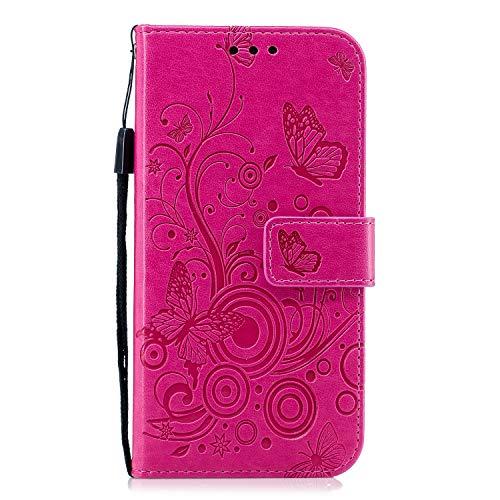 Lomogo Galaxy J5 2016 Hülle Leder, Schutzhülle Brieftasche mit Kartenfach Klappbar Magnetisch Stoßfest Handyhülle Case für Samsung Galaxy J5 2016/J510 - LOXCH030211 Rosa Rot