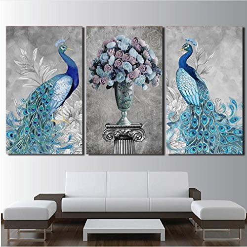 zsBig6 Blue Peacock Elegante Blumenstrauß leinwand Bilder Vase 3 Stück Tier Pfau Moderne wandbilder Wohnzimmer Wandkunst Home Decoration 50x70cmx3 Ungerahmt