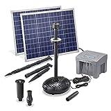 Solar Bomba de Estanque Profesional con 12V/24Ah Batería Almacenamiento y Iluminación LED - 2 x 50 Vatios Módulo - 2.600 L/H Capacidad Transporte - 1,5 M Soporte Altura - Fuente Jardín Esotec 101929