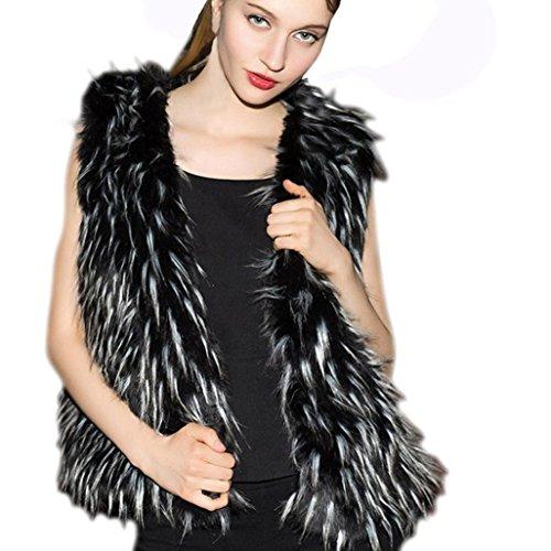 Hirolan Damen Kunstpelz Frau Warm Outwear Schlank Weste Faux Fuchs Pelz Winter Weste Mode Ärmellos Schwarz Jacke Fake Pelz Jacke Pelzjacke Größe S-XXXL (XL, Schwarz)
