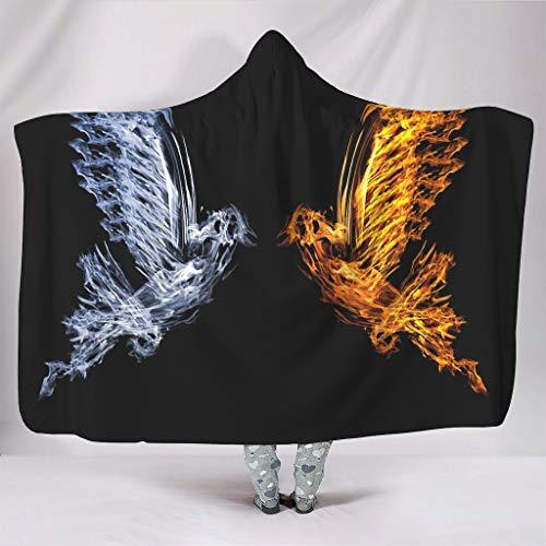 Fineiwillgo Sudadera con capucha de pájaros de hielo y fuego, manta supersuave, sudadera con capucha para niños, manta de peluche, para sofá o sillón, color blanco, 150 x 200 cm