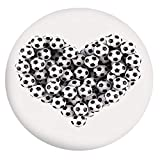 Mantel ajustable de poliéster con bordes elásticos, diseño de corazón de los balones de fútbol, ideal para mesas redondas de 142 a 152 cm, para fiestas, bodas, primavera y verano