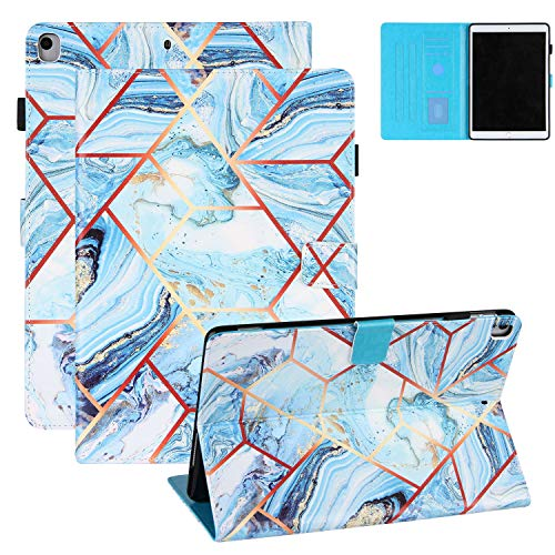 Colorful Marble Grid Case and Cover for iPad 8th Gen 10.2' 2020, iPad 7 2019 Cover with Pencil Holder, Coopts PU Leather Shockproof Anti-Slip Folio Stand Card Slots Case for iPad 8 2020, Blue
