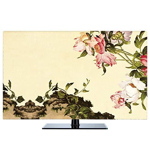 catch-L Interior Tela Cubierta De TV Cubierta De Polvo Paeonia Lactiflora Alce Decoración del Hogar (Color : Peony, Size : 24inch)