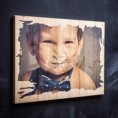 Dein Foto auf Holz bedruckt - Direkter Fotodruck - Vintage-Holz - Personalisiertes Holz-Bild als Fotodruck | Ideal als Hochzeitsgeschenk & Geburtstagsgeschenk Größe: S (11 x 11 cm)