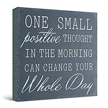 Barnyard Designs  One Small Positive Thought in The Morning Can Change Your Whole Day  Box Wall Art Sign Primitive Country Farmhouse Home Decor Sign with Sayings 8  x 8