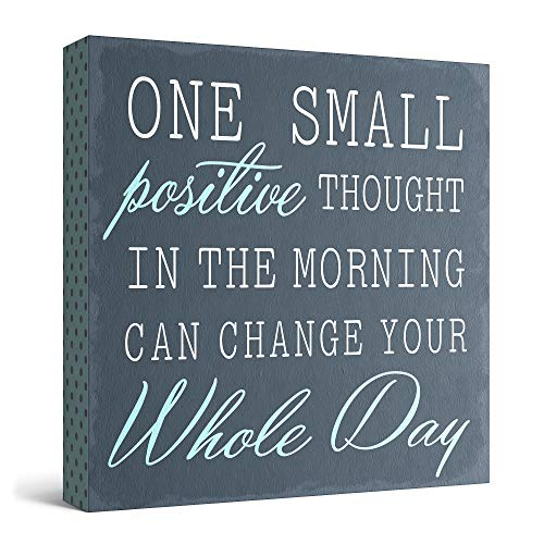 Barnyard Designs One Small Positive Thought in The Morning Can Change Your Whole Day Box Wall Art Sign, Primitive Country Farmhouse Home Decor Sign with Sayings 8