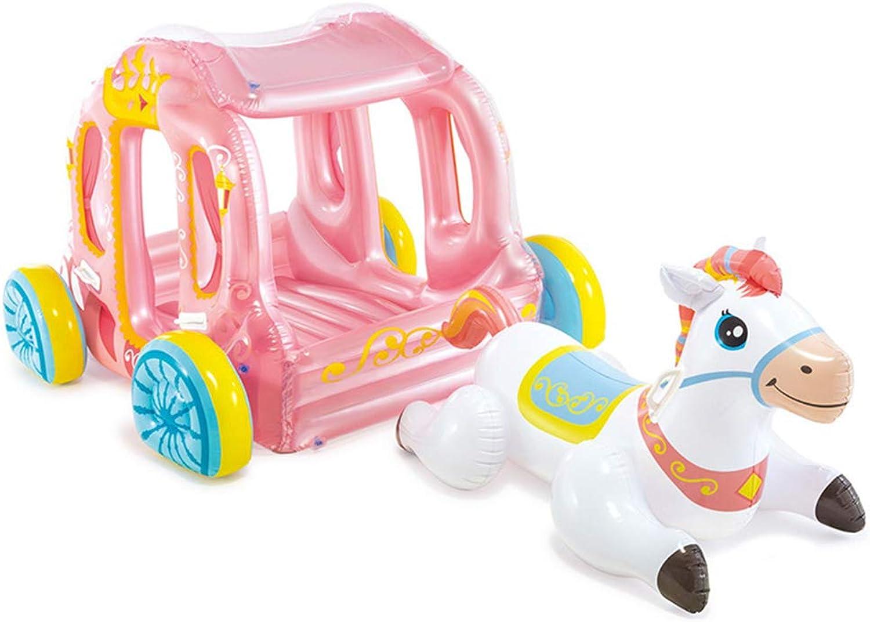 Aufblasbarer Einhornprinzessinwagen der Kinder, Pool spielt aufblasbares Float-Flo, aufblasbare Fahrt auf Wagen Indoor Outdoor-Pool-Spielzeug oder Blow Up Play Den.