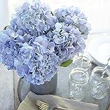 Butterfly Craze Artificial Hydrangea Silk Flowers for Wedding Bouquet, Flower Arrangements - Blue Color, 3 Stems Per Bundle