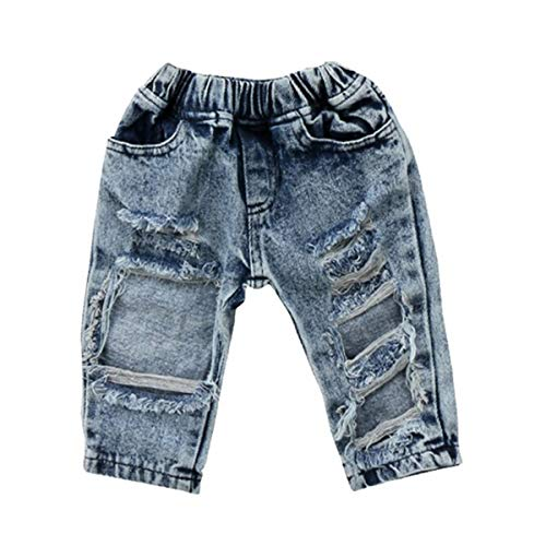 LXXIASHI Newborn Infant Baby Boy Girl Cotton Whale White Elastic Waistband Pants Denim Jeans Leggings Outfit (1-2 Years, Ripped Jeans- Blue)