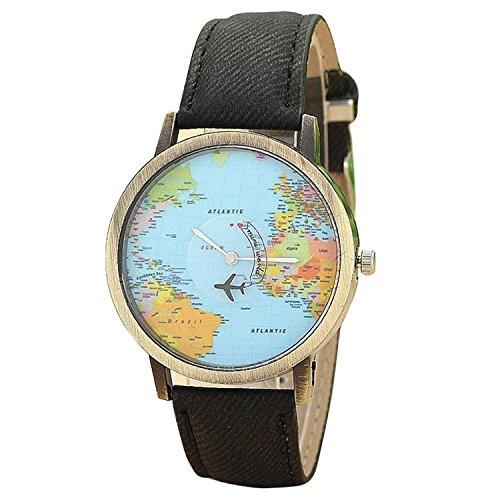 Unisex Retro Bronze Case Global Travel by Plane World Map PU Leather Band Quartz Watch (Black)