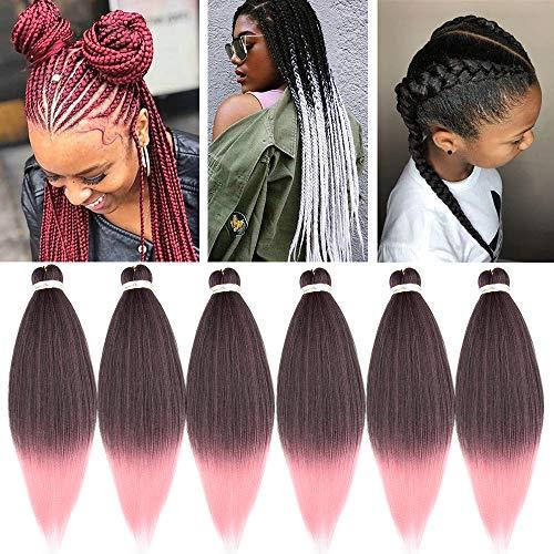 66cm-Extension Treccine per Capelli 6 Pezzi Afro Trecce Extension Capelli Soffici Lunghi Braids Hair Extension-Nero Scuro a Rosa Chiaro