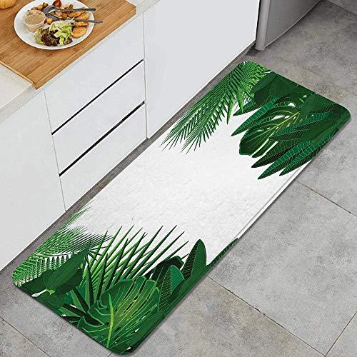 VAMIX Tappeto da Cucina,Foglie di palma tropicale hawaiana fantasia esotica con elegante tema di arte grafica floreale,antiscivolo passatoia da cucina antiscivolo zerbino tappetino per il bagno